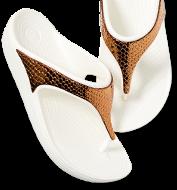 Women's Crocs Sloane Metallic Texture Flip, Bronze/Oyster.